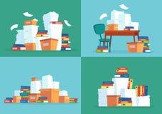 Documents sur papier de bureau Pile de papiers de travail, dossiers de document et vecteur de bande dessinée de pile de dossiers  illustration libre de droits