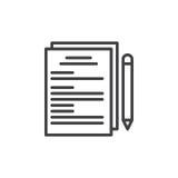 Documents sur papier et ligne icône de stylo Photographie stock libre de droits