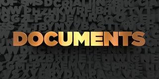 Documents - texte d'or sur le fond noir - photo courante gratuite de redevance rendue par 3D Photo libre de droits