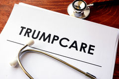 Documents with title Trumpcare. Royalty Free Stock Image