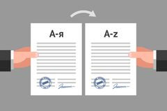 Documents translation concept. Two man`s hands are keeping similar documents in different languages. Concept of contract translation and multilingual papers royalty free illustration
