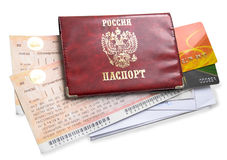 Documents for traveling. The passport, road tickets, credit card Royalty Free Stock Photo