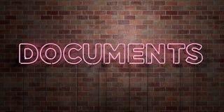 DOCUMENTS - tube au néon fluorescent connectez-vous la brique - vue de face - photo courante gratuite de redevance rendue par 3D Image libre de droits