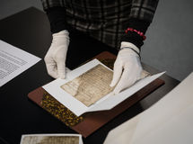 Documents of Ukrainian Cossacks stored in State Archive of Swede Stock Photos