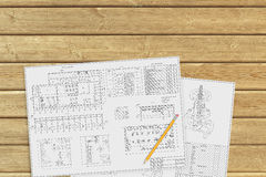 Documents on a wooden surface Royalty Free Stock Image