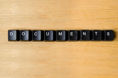 Documents word. With keyboard buttons Royalty Free Stock Photo