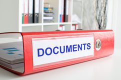 Documents wording on a binder Royalty Free Stock Images