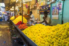 Documetary社论图象 创造花的绳索未认出的人妇女出售在室外主要市场上在印度 免版税库存图片