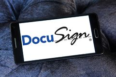 DocuSign company logo. Logo of DocuSign company on samsung mobile. DocuSign provides electronic signature technology and digital transaction management services Royalty Free Stock Images