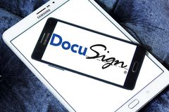 DocuSign company logo. Logo of DocuSign company on samsung mobile. DocuSign provides electronic signature technology and digital transaction management services Stock Image