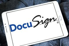 DocuSign company logo. Logo of DocuSign company on samsung tablet. DocuSign provides electronic signature technology and digital transaction management services Royalty Free Stock Photos