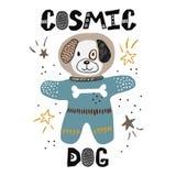 Dod i barnslig illustration för scape Kosmonautteckning Hand dragen barnkammareaffisch royaltyfri illustrationer