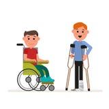 Dodatek specjalny potrzebuje dzieci lub niepełnosprawnych dzieci Chłopiec siedzi w wózku inwalidzkim royalty ilustracja