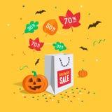 Dodatek specjalny sprzedaży Halloweenowy symbol z torba na zakupy, lata kolorowych liście, confetti i nietoperze, ilustracji