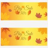 dodatkowy sztandar był może format rozmieniona sprzedaż Duża jesieni sprzedaż, specjalna oferta, pomija 30, 50% - ilustracja wektor