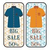dodatkowy sztandar był może format rozmieniona sprzedaż Duża sprzedaż odzież, specjalna oferta, rabat 50% ilustracji