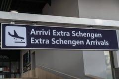 Dodatku Schengen przyjazdów deska obraz stock