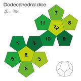 Dodecahedral Dice Platonic Solid Template. Dodecahedron template, dodecahedral dice - one of the five platonic solids - make a 3d item with twelve sides out of Royalty Free Stock Image