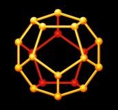 Dodecahedron金子三维形状 免版税库存照片