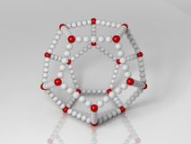 Dodecahedron. 3d generated illustration of dodecahedron builded with red and white balls Stock Photo