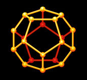 Dodecahedron-Golddreidimensionale Form lizenzfreie stockfotos