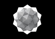 Dodecahedron-Icosahedron with black and white striped faces. Vector illustration Stock Images