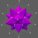 Dodecahedron-Icosahedron compound figure for your web design. Vector illustration of Dodecahedron on the grey background. Design with regular polyhedron Royalty Free Stock Photo