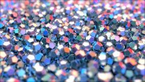 Dodecahedron metaalstukken die op rode en blauwe kleuren, het 3d teruggeven wijzen Stock Foto's