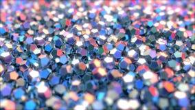 Dodecahedron metaalstukken die op rode en blauwe kleuren wijzen stock video