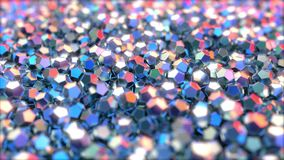 Dodecahedron metallic pieces reflecting red and blue colors, 3d rendering. Pile of regular dodecahedron pieces made of metal Stock Photos