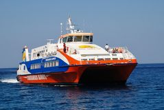 Dodekanisos Express ferry, Tilos Royalty Free Stock Images