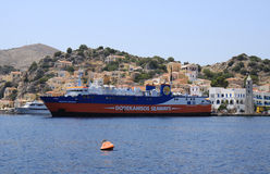 Dodekanisos Seaways Ferry docked at Symi port Royalty Free Stock Photography