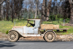 1923 Dodge 4 Buckboard driving on country road. Adelaide, Australia - September 25, 2016: Vintage 1923 Dodge 4 Buckboard driving on country roads near the town Stock Photo