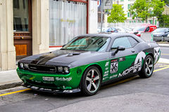 Dodge Challenger. GENEVA, SWITZERLAND - AUGUST 4, 2014: Motor car Dodge Challenger at the city street stock photos