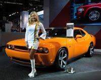 Dodge Challenger Hemi Shaker. DETROIT, MI/USA - JANUARY 13: A 2014 Dodge Challenger Hemi Shaker Limited Edition at the North American International Auto Show ( Stock Image