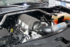 Dodge Challenger 6.4L HEMI Engine. Seen at the CIAS 2013 Dodge booth Stock Photo