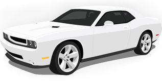 Dodge Challenger Muscle Car On White. A Vector .eps illustration of an American Dodge Challenger Muscle Car. Saved in layers for easy editing. See my portfolio royalty free illustration