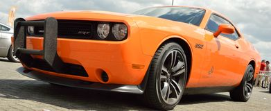 Dodge challenger. This is a Orange Dodge Challender on a event in Assen Royalty Free Stock Photography
