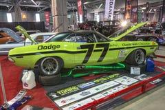 Dodge challenger race car. Side view of vintage dodge challenger race car in display during salon-auto sport de quebec 2016 royalty free stock images