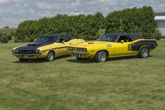 Dodge challenger rt and plymouth cuda royalty free stock photo