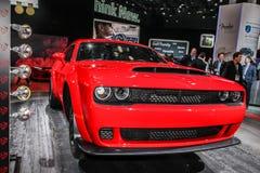 2018 Dodge Challenger SRT Demon. NEW YORK- APRIL 12: 2018 Dodge Challenger SRT Demon  shown at the New York International Auto Show 2017, at the Jacob Javits Stock Photo