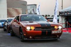 Dodge Challenger SRT. Dubai, UAE - November 15, 2018: American muscle car Dodge Challenger SRT takes part in the annual Gulf Car Festival royalty free stock image