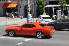 Kiev, Ukraine. June 10, 2017. Dodge Challenger SRT8 in motion royalty free stock photos