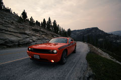 Dodge challenger Yosemite National Park Royalty Free Stock Photography