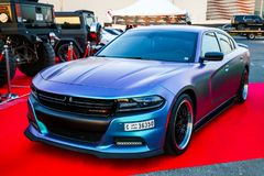 Dodge Charger. Dubai, UAE - November 15, 2018: Motor car Dodge Charger takes part in the annual Gulf Car Festival stock images