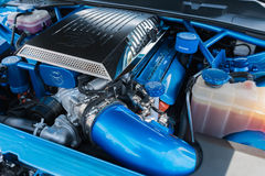 Dodge Charger SRT Hellcat engine on display. Van Nuys, USA - April 9, 2017: Dodge Charger SRT Hellcat emgome on display during The Spring Fling 31 at the Woodley stock photo