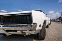 Dodge chargher. White Dodge chargher RT  on the road Stock Photo