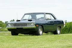 Dodge dart. Picture of the dark blue dodge dart swinger royalty free stock image