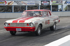 Dodge drag car. Napierville dragway july 12, 2014 picture of vintage dodge drag car at the starting line during nhra national open event Royalty Free Stock Photography