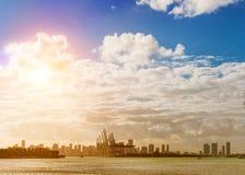Dodge Island and Downtown Miami, FL Royalty Free Stock Photo